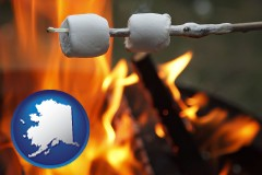 Alaska - roasting marshmallows on a camp fire