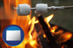 Colorado - roasting marshmallows on a camp fire