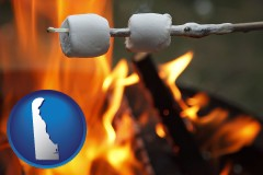 Delaware - roasting marshmallows on a camp fire