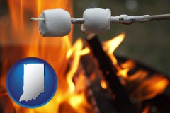 Indiana - roasting marshmallows on a camp fire