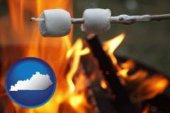 Kentucky - roasting marshmallows on a camp fire