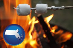 Massachusetts - roasting marshmallows on a camp fire