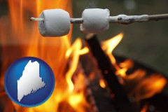 Maine - roasting marshmallows on a camp fire