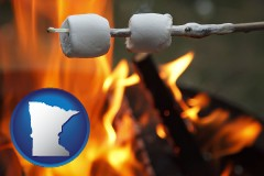 Minnesota - roasting marshmallows on a camp fire