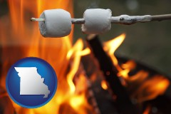 Missouri - roasting marshmallows on a camp fire