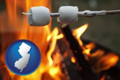 New Jersey - roasting marshmallows on a camp fire