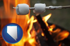 Nevada - roasting marshmallows on a camp fire