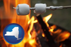 New York - roasting marshmallows on a camp fire