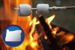 Oregon - roasting marshmallows on a camp fire