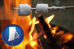 Rhode Island - roasting marshmallows on a camp fire