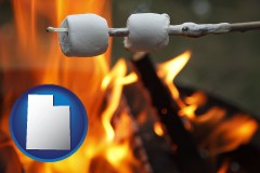 Utah - roasting marshmallows on a camp fire