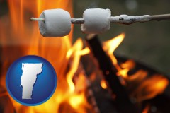 Vermont - roasting marshmallows on a camp fire