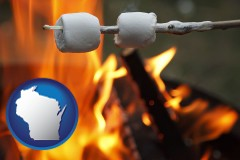 Wisconsin - roasting marshmallows on a camp fire