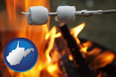 West Virginia - roasting marshmallows on a camp fire